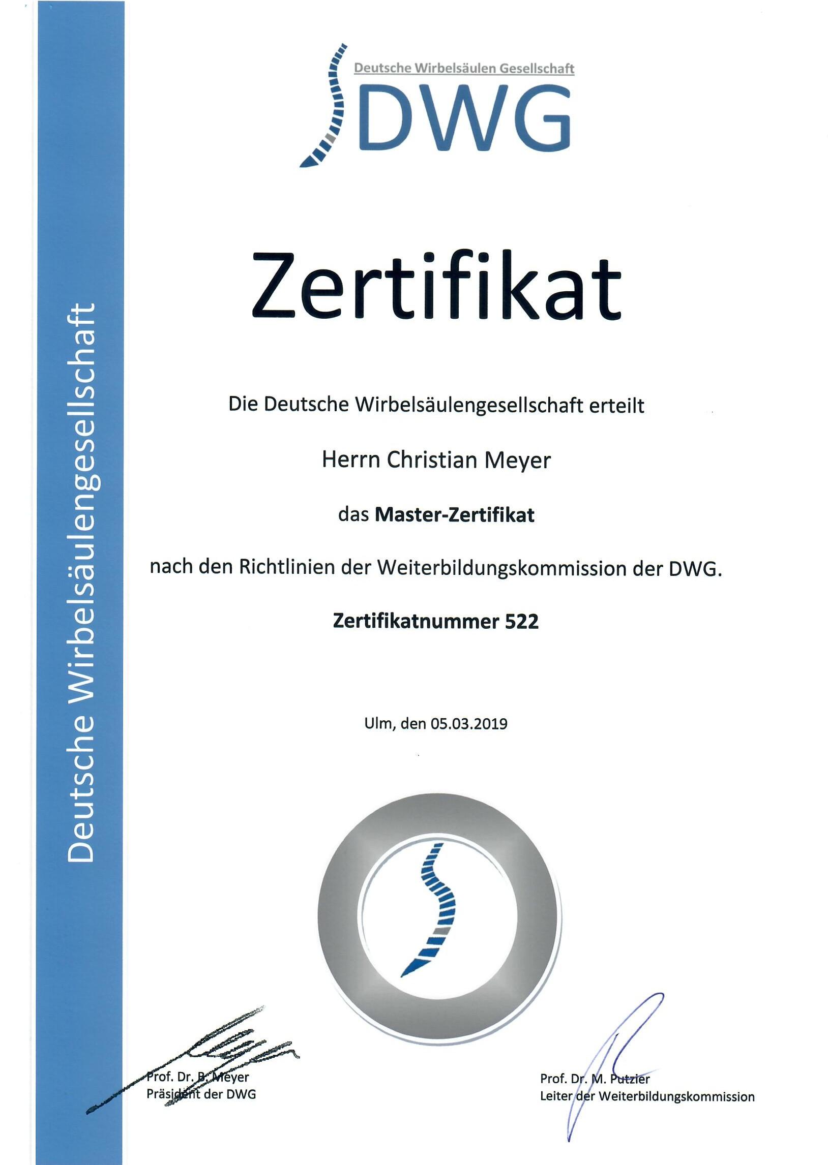 Master Zertifikat